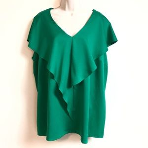 Lane Bryant emerald green short sleeve blouse top